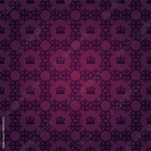 Damask Wallpaper Purple Background Flower Pattern Royal Style Dark Color