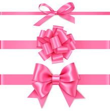 Set Of Decorative Pink Bow With Horizontal Pink Ribbon For Gift Decor. Realistic Vector Bow And Ribbon Isolated On White