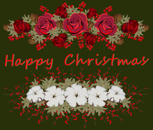 Christmas Floral Elements. Winter Flowers Holiday Kit, Buds, Cotton, Roses, Berries And Leaves. Decorative Borders For Christmas Gifts, Cards, Posters, Wrapping Paper. Vector