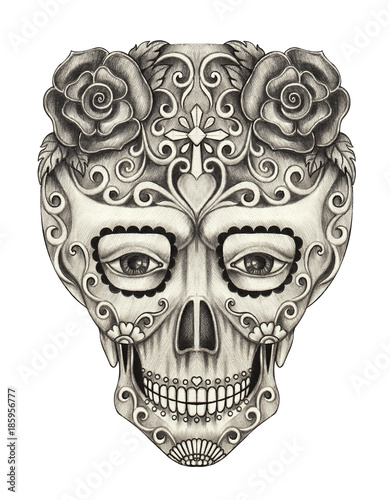 Art Sugar Skull Day of the dead. Hand pencil drawing on paper. Fototapete