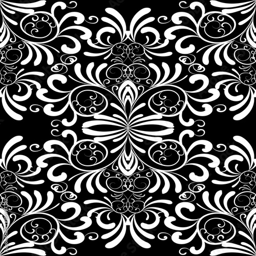 Vintage Floral Seamless Pattern Damask Black White Background
