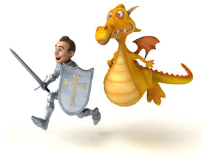 Rycerz i smok - ilustracja 3D