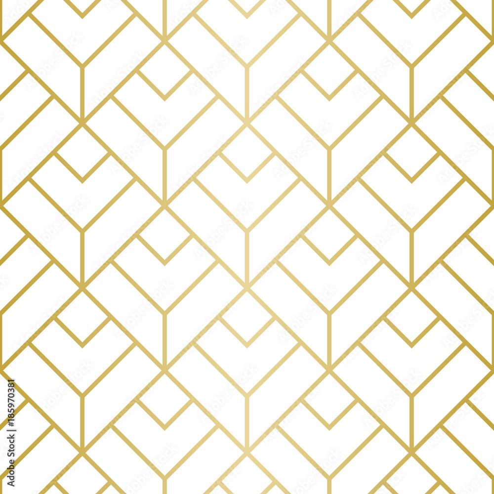 Fototapeta Luxury Geometric Pattern. Seamless Vector Lines. Golden Look.