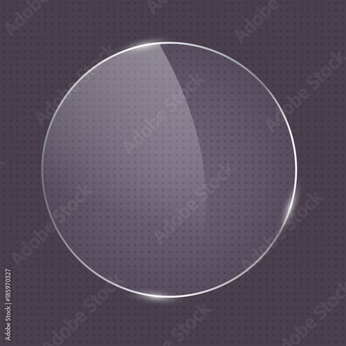 Obraz Vector realistic round shape glass frame on dark transparent background. Rounded glass element for banner design, advertising, web, button - fototapety do salonu