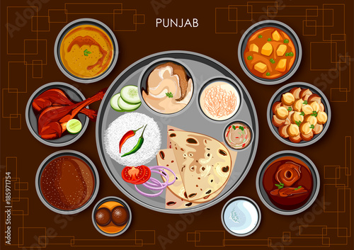 Fotografie, Obraz  Traditional Punjabi cuisine and food meal thali of Punjab India