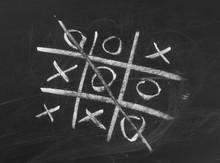 Tic-tac-toe On Chalkboard, Bla...