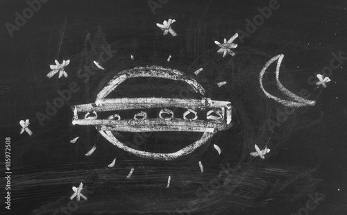 Flying saucer, UFO on chalkboard, blackboard background and texture
