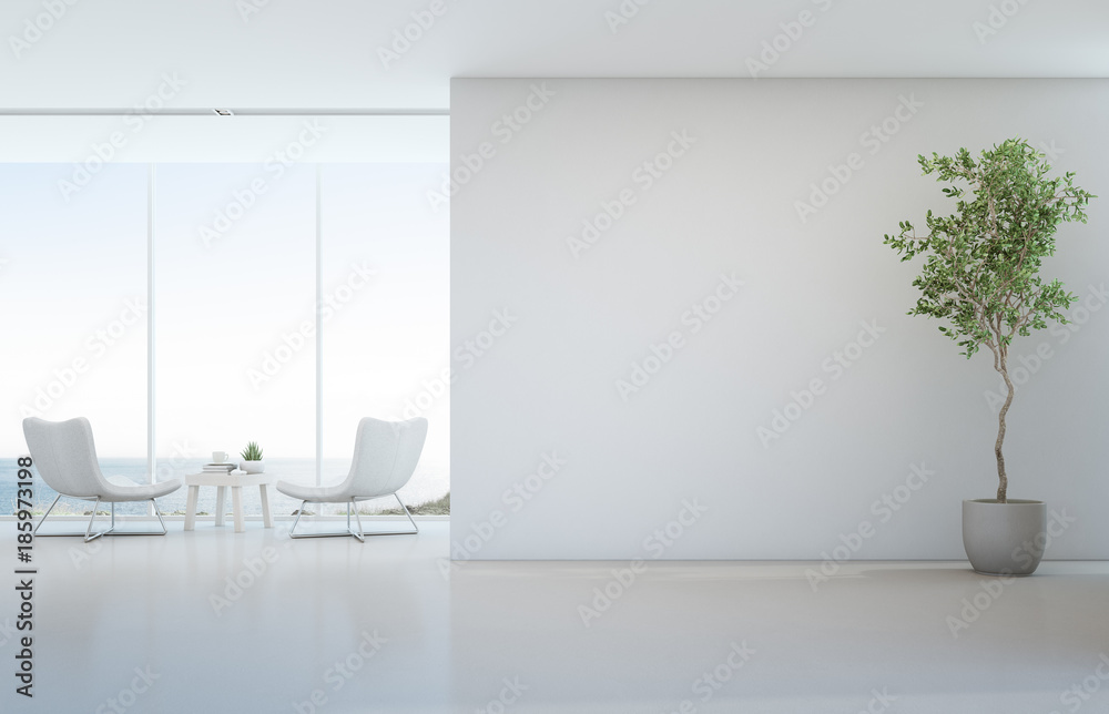 Fototapety, obrazy: Indoor plant on white floor with empty concrete wall background, Lounge and coffee table near glass window in sea view living room of modern luxury beach house or hotel - Home interior 3d illustration