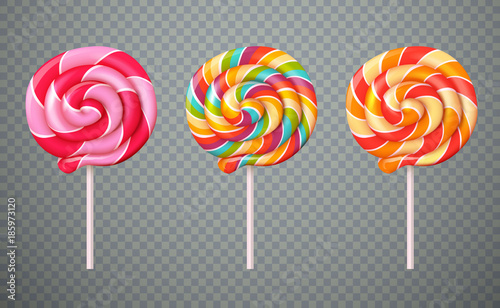 Fototapeta Realistic Lollipops Transparent Background Set