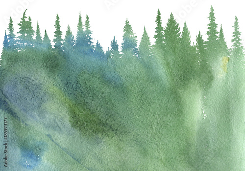 Poster Olive watercolor landscape with fir trees