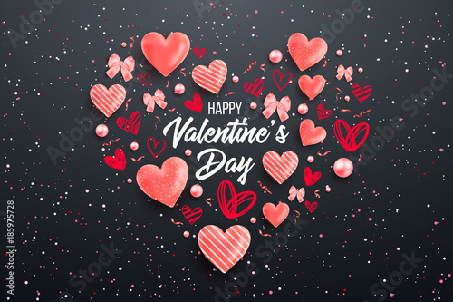 Fototapeta Saint valentine day background with colorful hearts with frame. Happy valentines day and weeding design elements. Vector illustration. Pink Background With hearts. Doodles and curls. Be my valentine. obraz