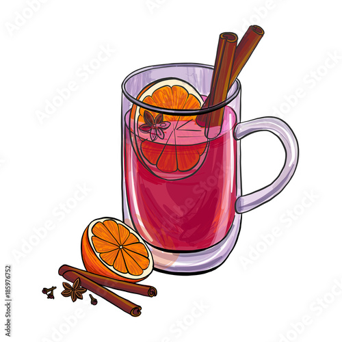 Fotografie, Obraz hand drawn cup with mulled wine