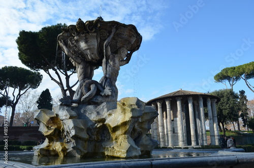 Photo  Rome - Fountain of Tritons and Temple of Ercole