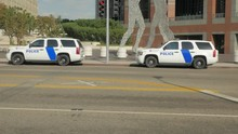 Homland Security Police Vehicles In A Major City