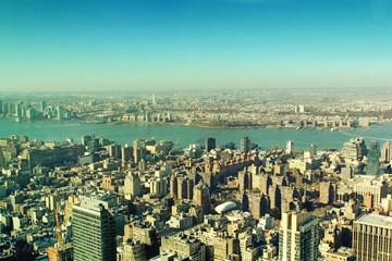Fototapeta Nowy York New York City Manhattan skyscrapers panoramic vintage look