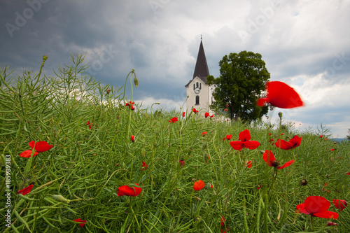 Photo sur Toile Con. Antique Lonely church in the field