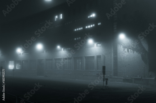 Empty road and streetlights at foggy night