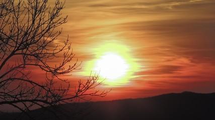 Beautiful dawn in winter