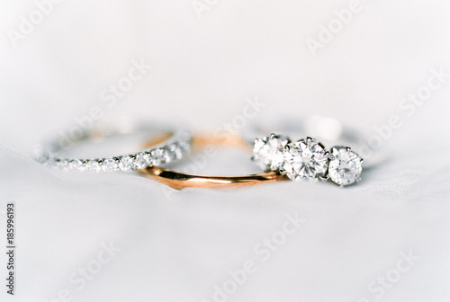 Gold and silver diamond wed...