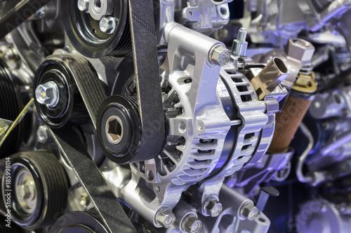 alternator in Diesel Engine with belt ; industry background Canvas Print