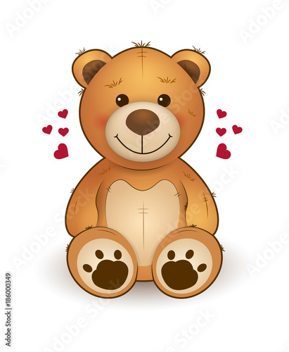 Fotografía Funny cartoon teddy bear for greeting card on st