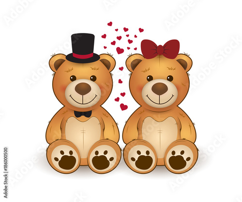 Cute Two Teddy Bears In Love Funny Cartoon Teddy Bears For Greeting Card On St Valentine S Day Wedding Birthday Buy This Stock Vector And Explore Similar Vectors At Adobe Stock