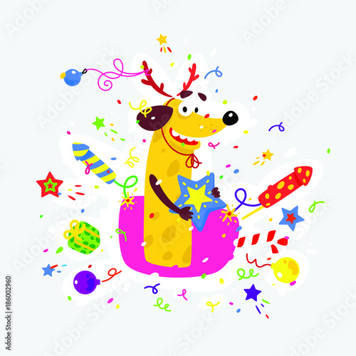 yellow dog is the symbol of chinese new year vector flat illustration of a dog