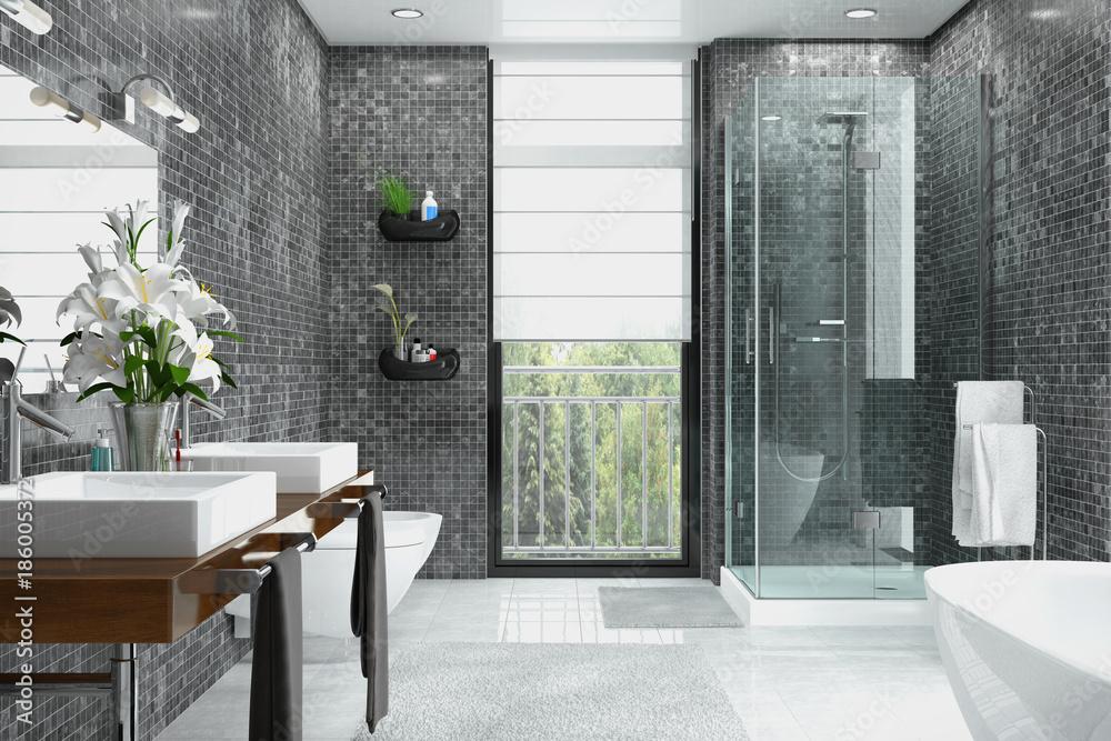Photo U0026 Art Print Modernes Badezimmer In Weiß Und Schwarz Mit Dusche,  Badewanne, WC, Bidet Und Zwe | EuroPosters