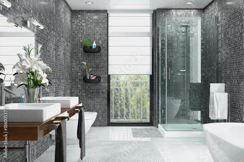 Foto  Modernes Badezimmer in weiß und schwarz mit Dusche, Badewanne, WC, Bidet und zwe