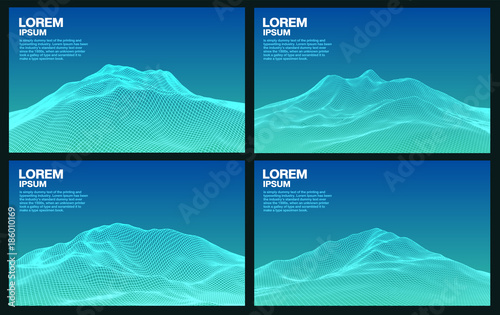 Set of 3d blue mountain wireframe line, vector background and space for text