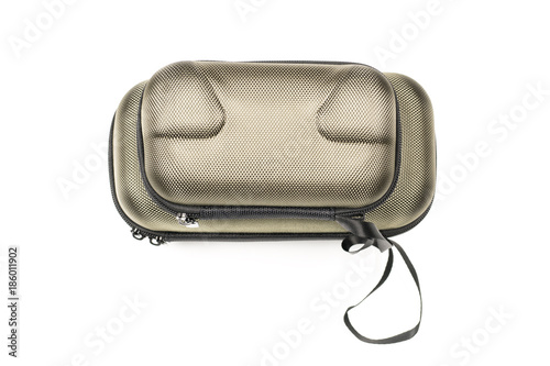 Top view of two closed metallic khaki carrying cases for drone body and remote control on white background