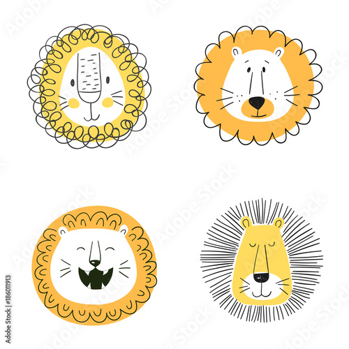 Fototapeta Set of cute cartoon lions. Funny doodle animal heads. Vector illustration obraz na płótnie