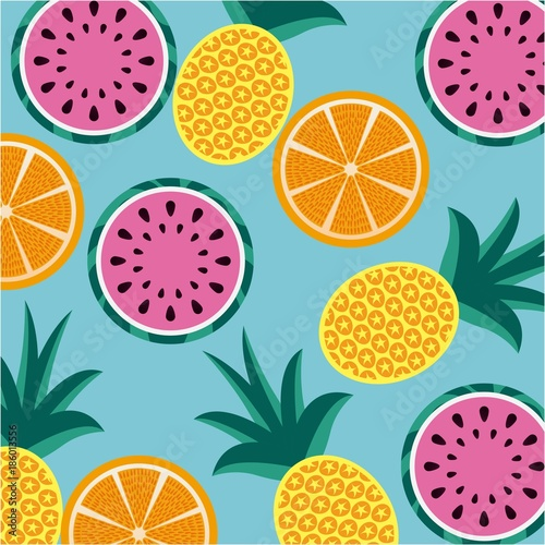 Cotton fabric seamless pattern fruits pineapple orange and watermelon
