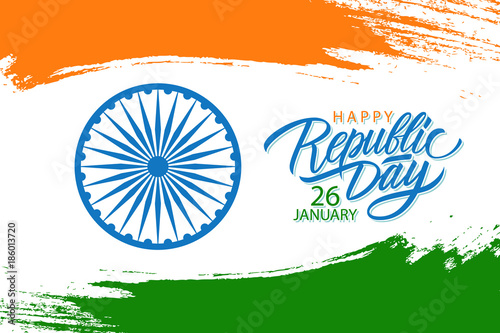 India happy republic day celebrate banner with hand lettering india happy republic day celebrate banner with hand lettering holiday greetings and brush stroke in colors m4hsunfo