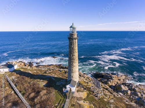 Aerial view of Thacher Island Lighthouse on Thacher Island, Cape Ann, Massachusetts, USA Canvas Print