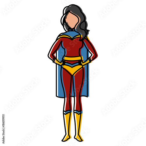 Cuadros en Lienzo Woman superhero cartoon icon vector illustration graphic design
