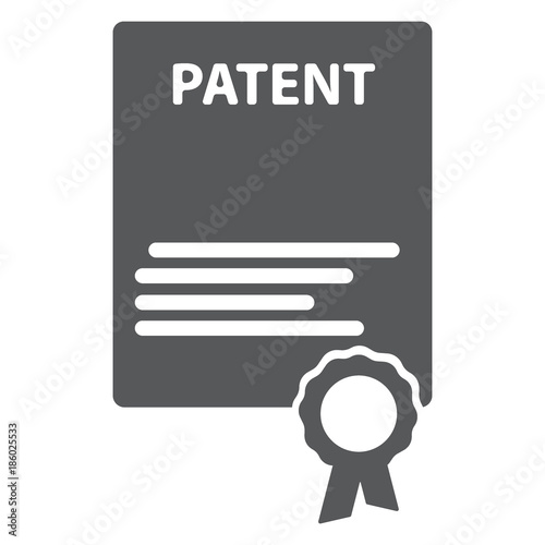 Patented document with approved stamp vector icon illustration Canvas Print