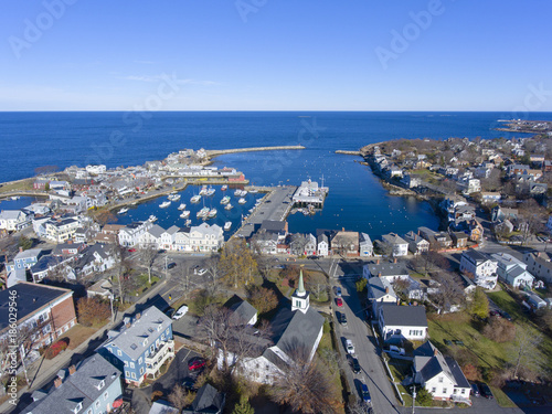 Photo Rockport Harbor and Motif Number 1 aerial view in Rockport, Massachusetts, USA
