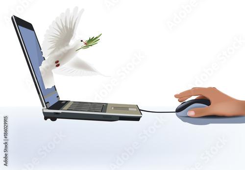 Valokuva  trasmettere pace con il computer