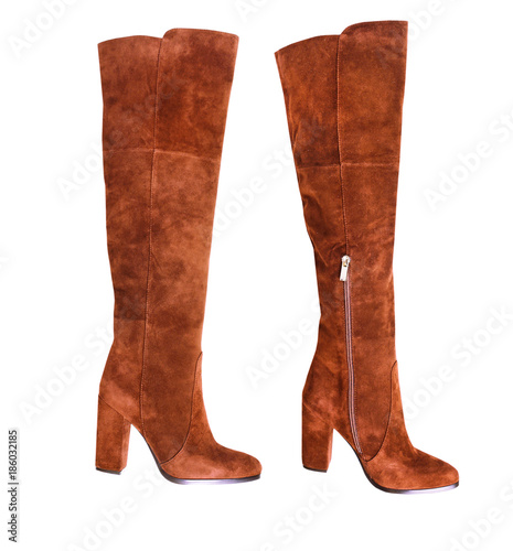 Fototapeta Female suede jack boots pair isolated. obraz