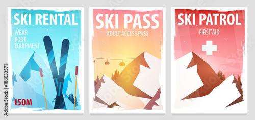 Set of Winter Sport posters. Ski Rental, Patrol, Pass. Mountain landscape. Snowboarder in motion. Vector illustration.