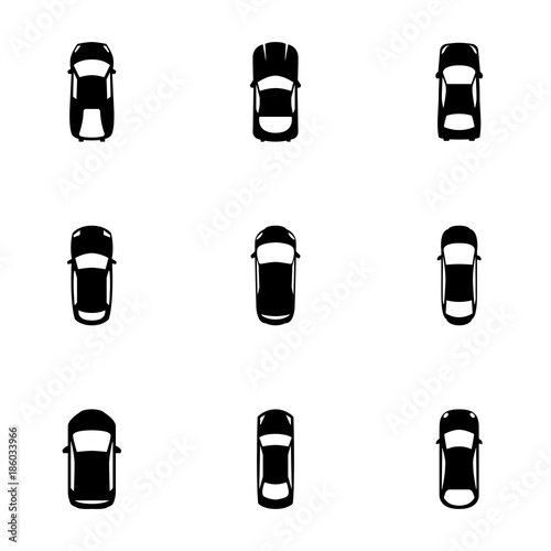 Papiers peints Cartoon voitures Set of simple icons on a theme Car, vector, design, collection, flat, sign, symbol,element, object, illustration, isolated. White background
