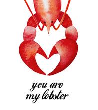 Lobster Character, Happy Valen...
