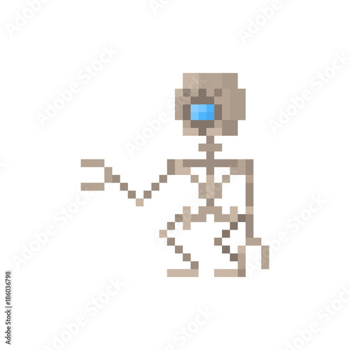 Fotografie, Obraz  Pixel character steam punk robot for games and web sites