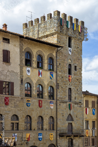 Detail of the Faggiolana tower in Piazza Grande in Arezzo, Italy Wallpaper Mural