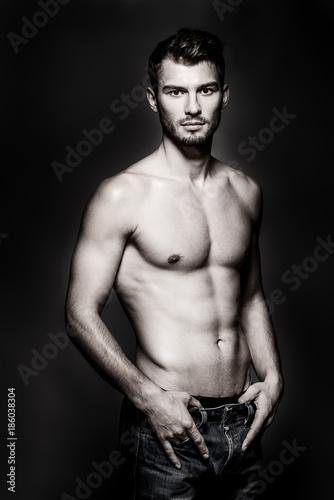 Deurstickers Akt sexy muscular body