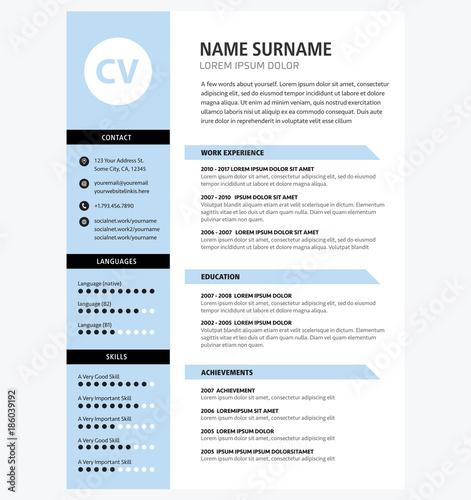 Minimalist Cv Template Blue Color Acheter Ce Vecteur Libre