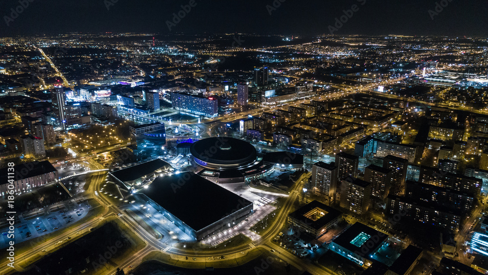 Fototapeta Nocna panorama miasto katowice