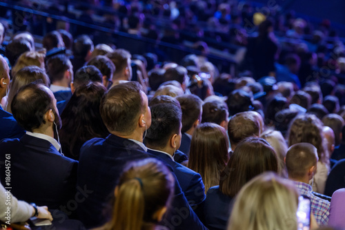 Fototapeta People attend business conference in the congress hall obraz