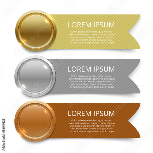 Tablou Canvas Gold, silver and bronze medals banners design